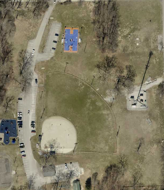clear creek park in 2019 showing new playground and basketball court