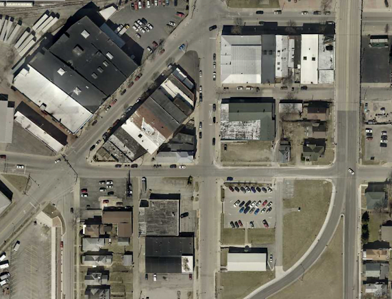 richmond depot district showing rebuilt roads, protected bike paths, and a few old buildings raised