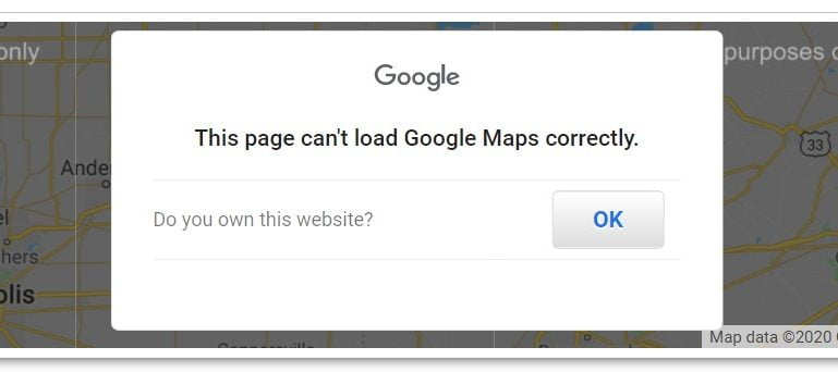 google maps error showing this page can't load google maps correctly