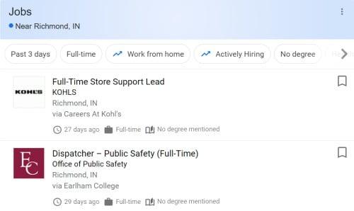 what jobs on google search widget look like
